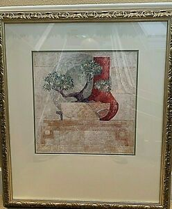 Framed-Still-Life-Print-Bonsai-and-vase-Signed-33x22-034-2-inch-frame