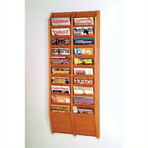 Pemberly Row 20 Pocket Wall Mount Magazine Rack in Medium Oak