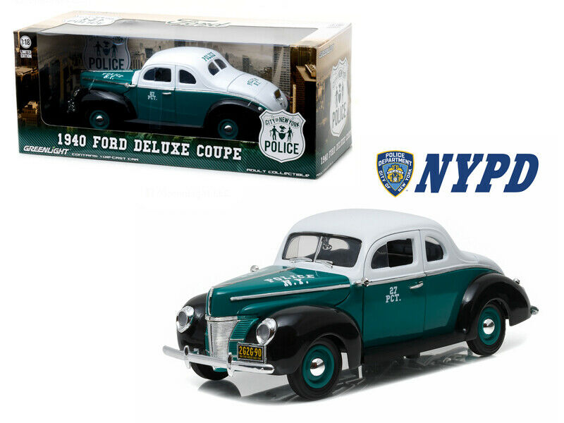 Grünlight 1 18 1940 Ford Deluxe Coupe New York Police NYPD Turquoise 12972