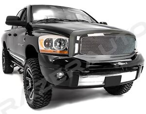 Front-Hood-Chrome-Mesh-Grille-Outer-Shell-for-06-08-Dodge-RAM-1500-2500-3500