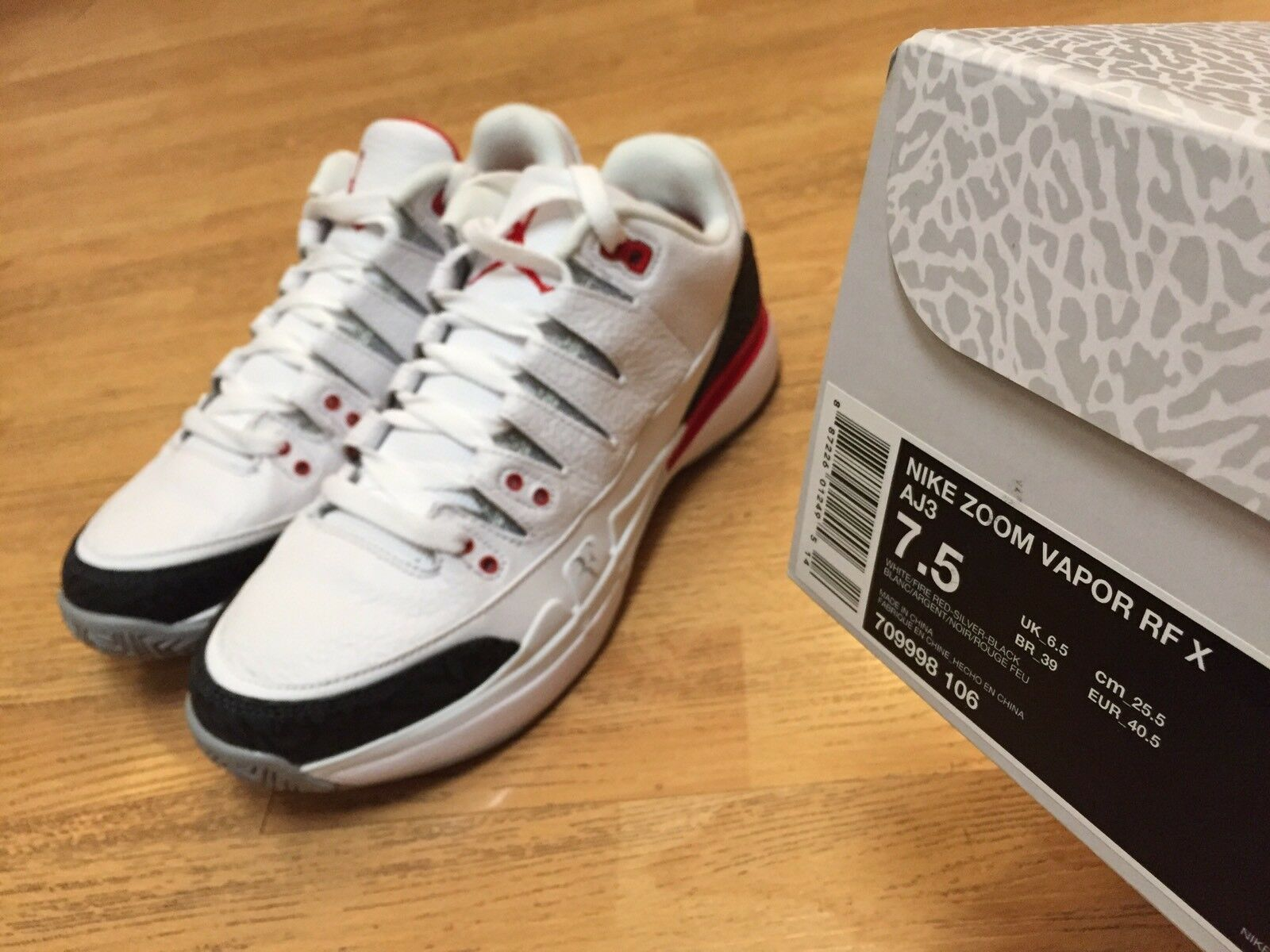 new style 2c513 96d86 ... Nike Zoom Vapor RF X AJ3 Fire Fire Fire Red Retro Jordan Roger Federer  Men 7.5 ...