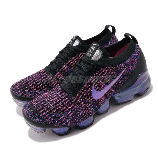 online store 81252 499f3 Nike Air Vapormax Flyknit 3 Black Blue Fuchsia Mens Running Shoes Max  AJ6900-007
