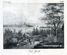 New York Gesamtansicht Original-Lithographie Lithography ca. 1820