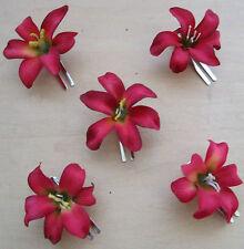 "5 Piece Lot Small 2/"" Cream White Lily Silk Flower Hair Clip,Wedding,Dance Prom"