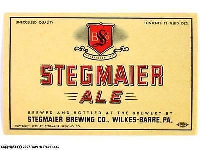 Unused 1950s Stegmaier Ale Dull Beer Label Tavern Trove Pennsylvania