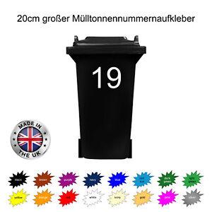 Details Zu Mülltonne Hausnummer Aufkleber Müllbehälter Mülltonne Sticker Zahl Beschriftung