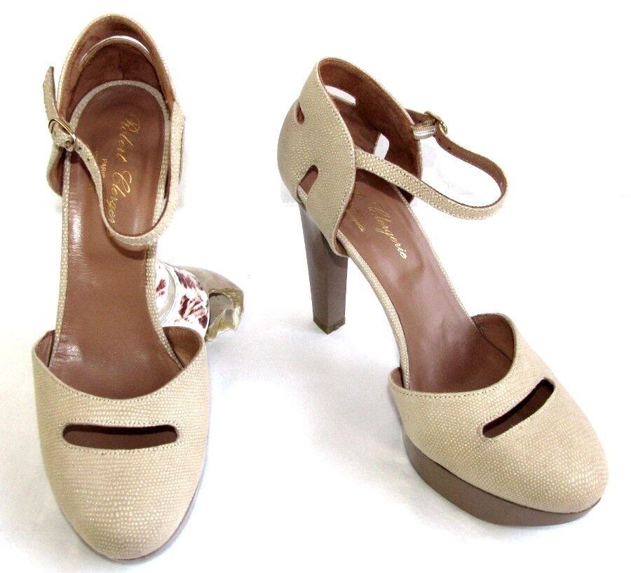 Robert clergerie sandals nude beige leather talita 6.5 38 excellent etat boite
