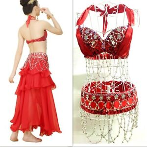 New Belly Dance Sequin Top Hip Scarf Skirt Outfit Set Bollywood Carnival Costume