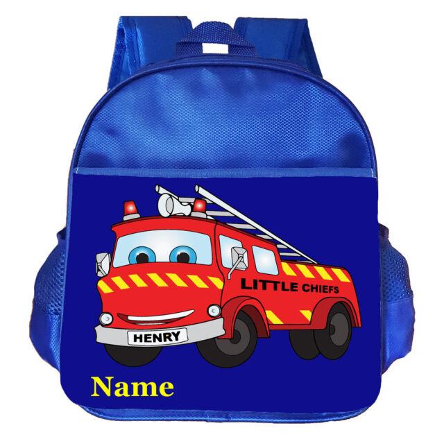 d0843bf47341 Fire Engine Personalised Customised Kids Toddler School Nursery Bag Backpack