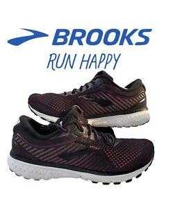 Brooks Womens Ghost 12 1203051B063 Black Hollyhock Pink Running Shoes Sz 9.5 B