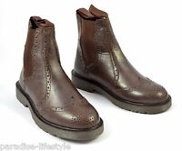Mens Brown Brogue Shoes Chelsea Boots Leather Rubber Sole Free Delivery Size 10