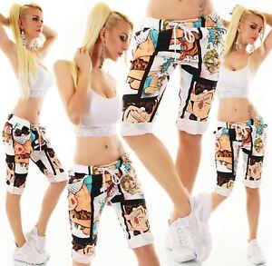 ITALY Damen Shorts Bermuda Capri kurze Hose Capri Stretch Comic Print 36-40