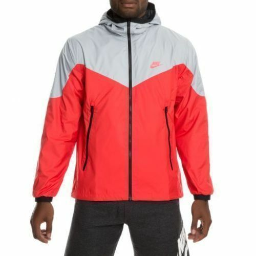 Large packable Hoody 013 Full Jacket Red Nike 91208313894 mens grey Zip Windrunner 917809 vwF7U