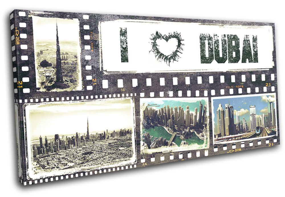Dubai Grunge City SINGLE TELA parete arte foto stampa