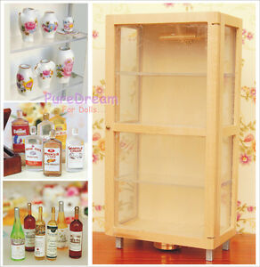 Dollhouse Furniture China Display Lighted Cabinet Vases And Bottles Set