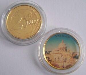 Details Zu 2 Euro Münze Vatikan Petersdom Gold Mit Farbe Sehr Selten