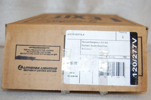 F LITHONIA LE S 2 R 120//277 EL N EMERGENCY EXIT SIGN LES2R120//277ELN L.E.D NEW