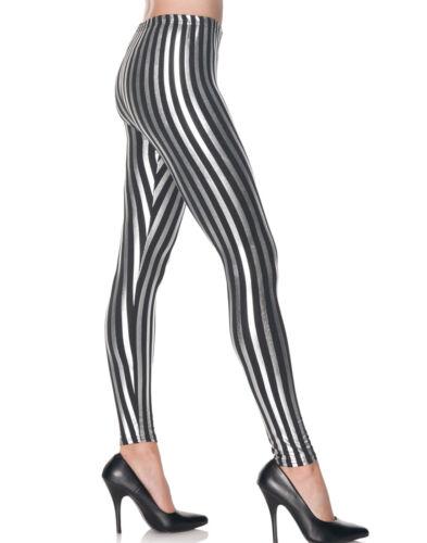 Silver//Black Striped Leggings Roller Derby Punk Rock Women Costume Accessory S//M