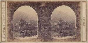 Suisse Sion Vallese Ruines Foto A. Braun Stereo Vintage Albumina Ca 1860