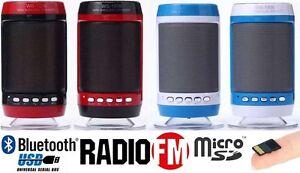 CASSA PORTATILE BLUETOOTH CON RADIO FM SD USB  MP3 SMARTPHONE SPEAKER CON LED WS