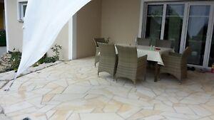 Toscana-Polygonalplatten-Poolumrandung-Naturstein-Terrassenplatten-crema-Aktion