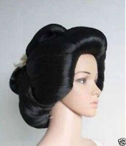 Hot-sell-Black-Geisha-Wig-Full-Wigs-Plate-Hair-Anime-Wig-Cosplay-Wig