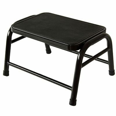 One Step Stool Black Metal Anti Slip Rubber Mat Kitchen Ladder By Home Discount