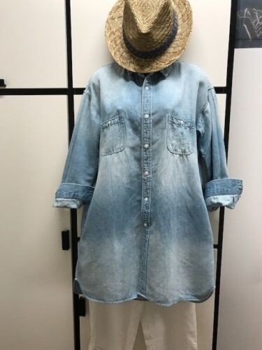 Veritecoeur Shirt Tunic Cotton Linen Light Denim W