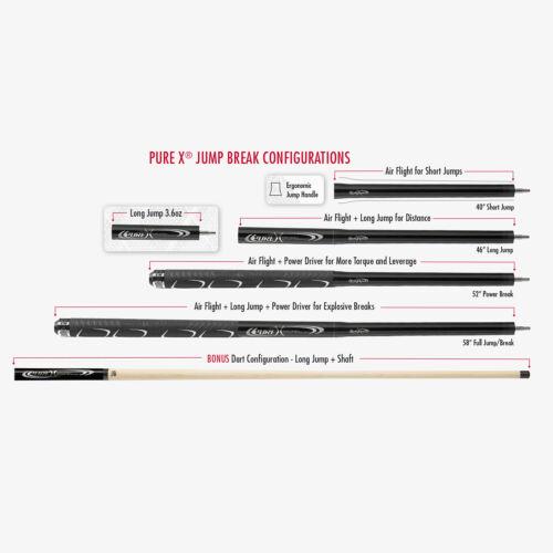 PureX HXT-P5 Jump Break Cue Gunmetal 4 Piece Black Sport Grip JOINT CAPS