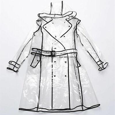 Transparent Raincoat Runway Style Women Girls Clear Fashion Rain Coat Jacket New