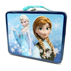 Disney Frozen Tin Lunchbox- Ana & Elsa 3-D Embossed 8 x 6 x 3
