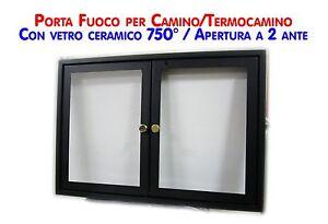 Sportello con vetro ceramico 760 a due ante battenti x - Porta legna per camino ...