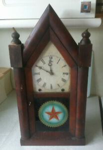 ANTIQUE-WOODEN-AMERICAN-8-DAY-JEROME-NEW-HAVEN-WALL-CLOCK-RESTORATION-PROJECT