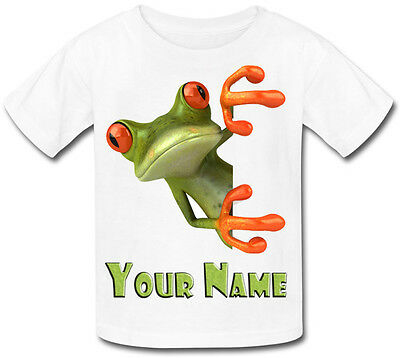 GREEN FROG PERSONALISED BABY T-SHIRT GREAT GIFT FOR ANY CHILD /& NAMED TOO