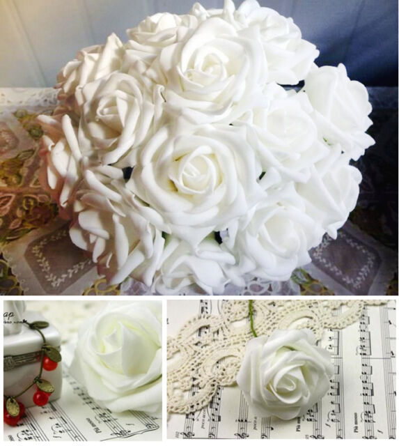 15 White Real touch Rose Wedding Bridal Bouquet Flowers Home Party Table Decor