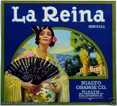 *Original* LA REINA Rialto Woman Queen San Bernardino Orange Label NOT A COPY!