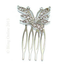 SMALL LITTLE BUTTERFLY DESIGN CRYSTAL SLIDE HAIR COMB GRIP BRIDESMAID PROM BRIDE