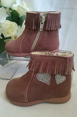BABY Halbstiefel Kinder Schuhe MADE IN ITALY Gr. 20 Rosa Herz LEDER Gefüttert