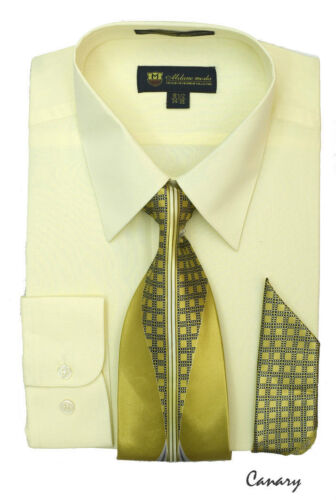 Men/'s Dress Shirt with Matching Tie And Handkerchief Set 8 Colors Size 15~20