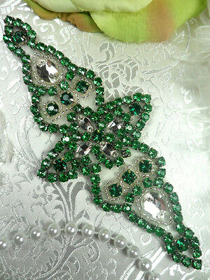 "XR237 Green Crystal Rhinestone Silver Beaded Applique 6"" (XR237-slgr)"