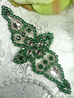 """XR237 Green Crystal Rhinestone Silver Beaded Applique 6"""" (XR237-slgr)"""