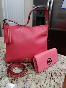Michael-kors-pinkish-leather-bag-amp-large-zip-around-continental-wristlet-wallet