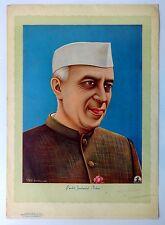 "Vintage poster PANDIT JAWHARLAL NEHRU By B. G. Sharma 14"" x 19.5"""