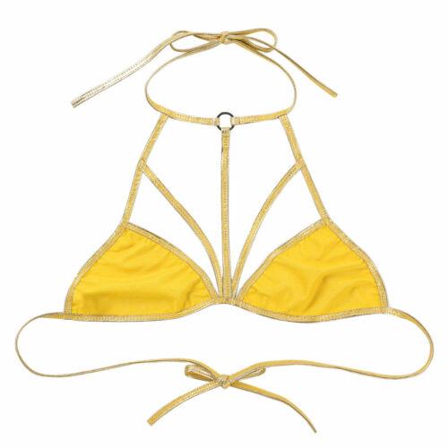 Women Shiny Bra Metallic Strap Detail Bikini Bralette Top Lingerie Rave Clubwear
