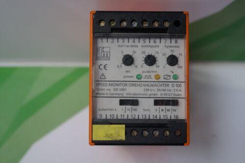 DD0001 ifm speed monitor//Drehzahlwächter D100 Typ Typ