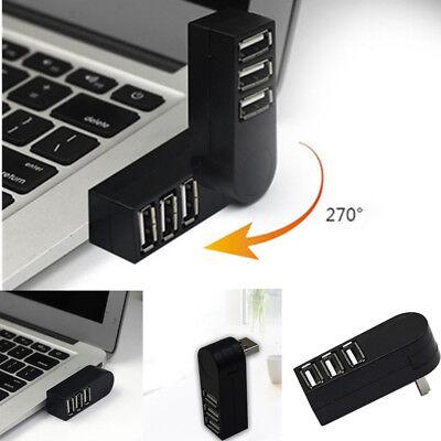 Mini 3 Port USB 3.0 Rotating Splitter Adapter Hub For PC Laptop Notebook PR