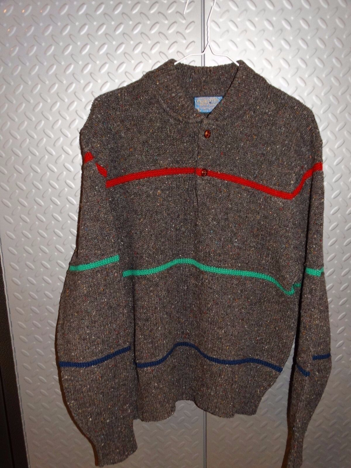 17213  Pendleton Vintage Wool Nordic Print Sweater Made In USA  L Large