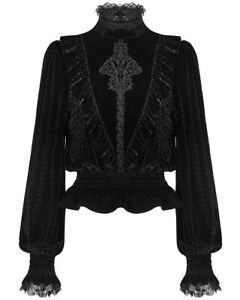 Punk-Rave-Womens-Gothic-Top-Black-Velvet-Lace-Long-Sleeve-Steampunk-Victorian
