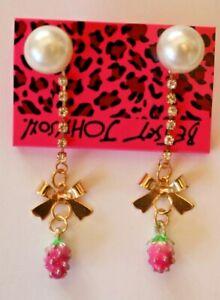 Betsey-Johnson-Crystal-Rhinestone-Enamel-Pearl-Strawberry-Post-Earrings