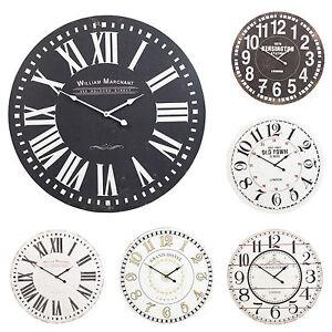 60-cm-Extra-Large-Round-Wooden-Wall-Clock-Vintage-Retro-antico-effetto-anticato-CHIC